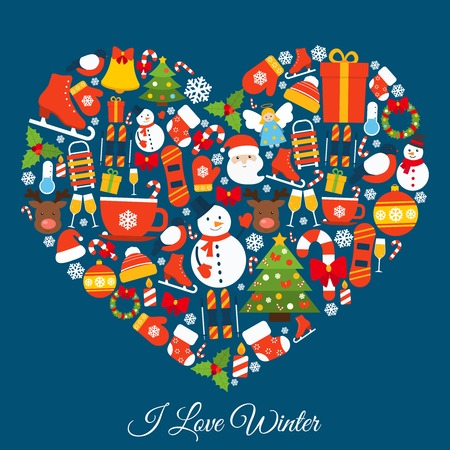 Love winter concept with new year and christmas decorative elements in heart shape vector illustration Иллюстрация