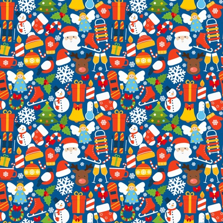 Winter seamless pattern with christmas and new year holiday decoration vector illustration Vector