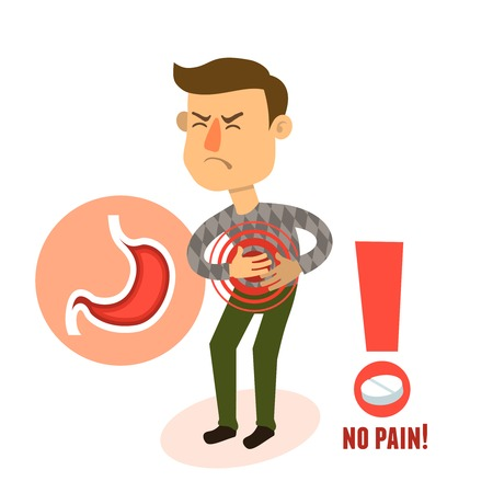 dolor de estomago: Estómago enfermo dolía carácter persona de sexo masculino con la ilustración del vector de la píldora Vectores