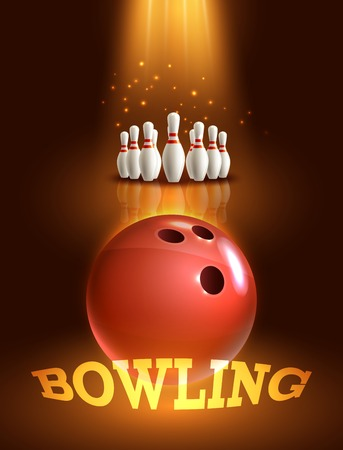 bowling strike: Bowling ball and pins realistic game poster with dark background vector illustration