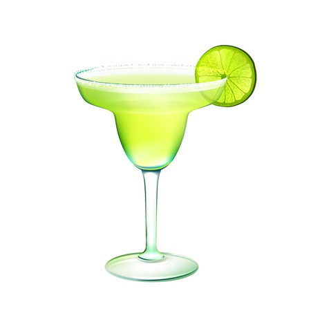 lime green background: Margarita realistic cocktail in glass with lime slice isolated on white background vector illustration