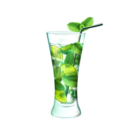 mohito: Mojito realistic cocktail in glass with lime mint and drinking straw isolated on white background vector illustration