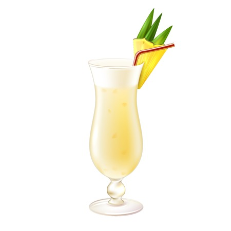 colada: Pina colada realistic cocktail in glass with pineapple slice and drinking straw isolated on white background vector illustration