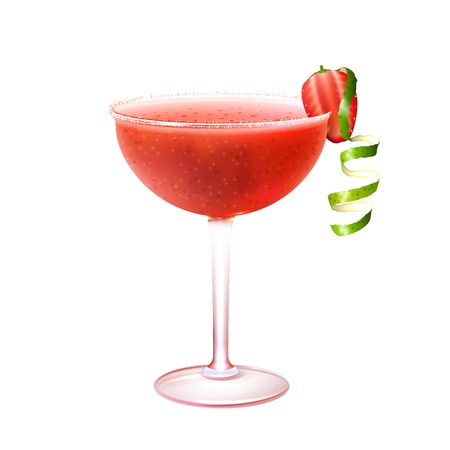 daiquiri: Strawberry daiquiri realistic cocktail in glass with lime twist isolated on white background vector illustration