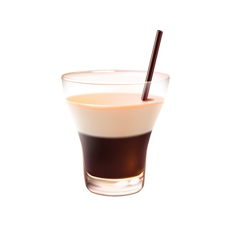 russian food: White russian realistic cocktail in glass with drinking straw isolated on white background vector illustration Illustration