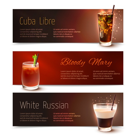 mary: Cuba Libre Bloody Mary White Russian cocktails horizontal banner set isolated vector illustration