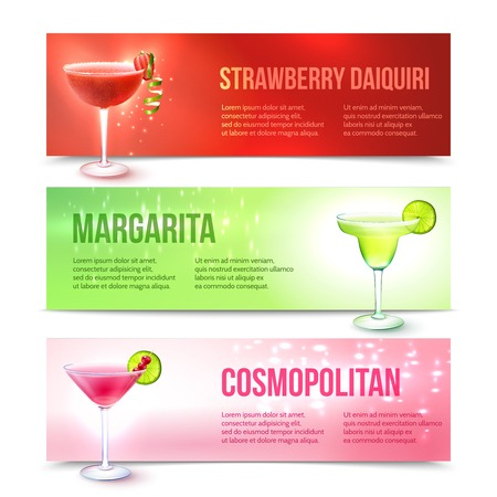 daiquiri: Strawberry daiquiri margarita cosmopolitan cocktails horizontal banner set isolated vector illustration