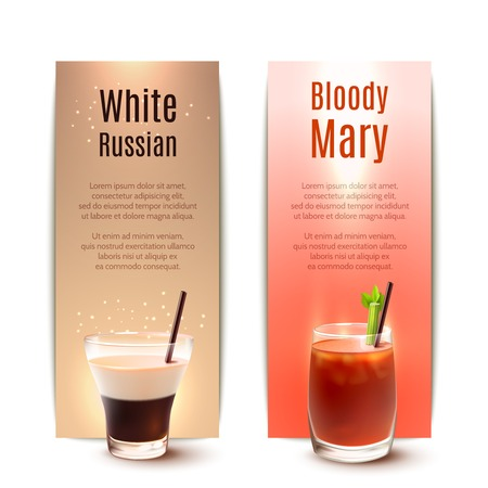 mary: White russian and bloody mary cocktails vertical banner set isolated vector illustration
