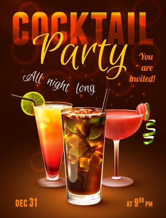 cocktail party: Cocktail party poster with alcohol drinks in glasses on dark background vector illustration.