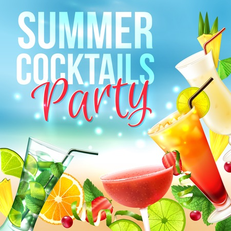 fruit drink: Cocktail party summer poster with alcohol drinks in glasses on blue background vector illustration