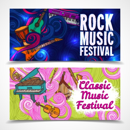 flute music: Classic and rock music festival horizontal banners set with piano guitar saxophone isolated vector illustration