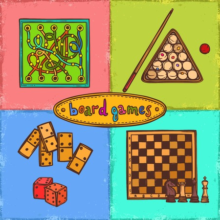 Sport and gambling board games sketch colored decorative icons concepts set isolated vector illustration Vector