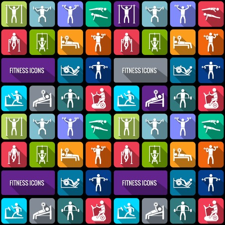 sports icon: Workout sport and fitness gym training decorative icons flat set isolated vector illustration Illustration