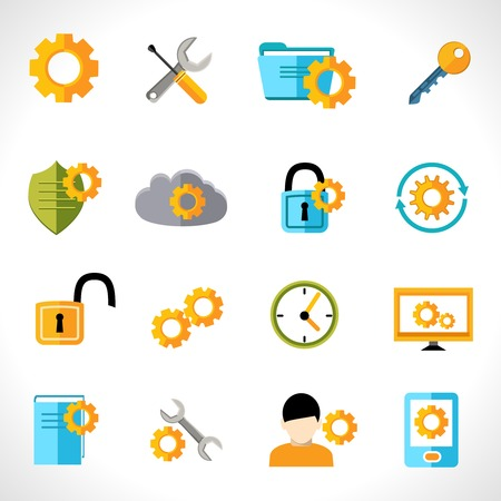 Mobile phone computer account settings flat icons set isolated vector illustration Vector