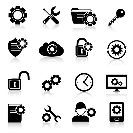 Mobile phone computer account settings security control black icons set isolated vector illustration. Vector