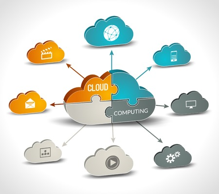 Cloud computing infographics set with 3d chart and data processing networking elements vector illustration