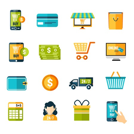 Online shopping e-commerce advertising commercial services flat icons set isolated vector illustration