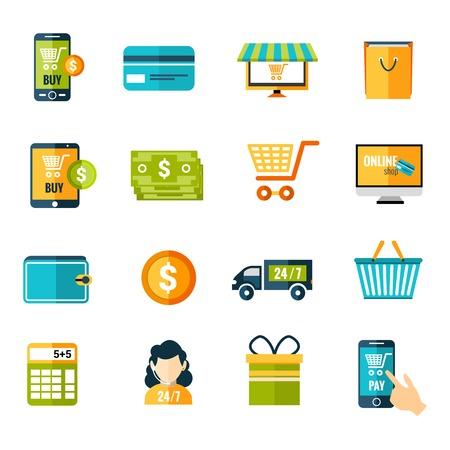 Online winkelen e-commerce reclame commerciële dienstverlening vlakke pictogrammen set geïsoleerd vector illustratie Stock Illustratie