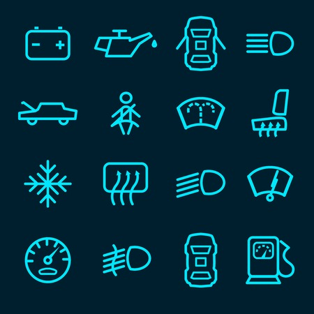 car plug: Car dashboard icons set with warning lights fuel door seat symbols isolated vector illustration