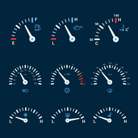 gas gauge: Speedometer gauge timer gas control measure interface icons set isolated vector illustration