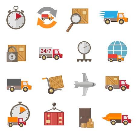 ロジスティック チェーン配送貨物サービス供給配達アイコン設定分離ベクトル イラスト