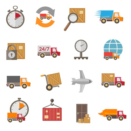 Logistic chain shipping freight service supply delivery icons set isolated vector illustration