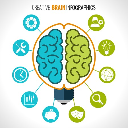 Creative brain infographics set with hemispheres in lightbulb and intelligence and creativity symbols vector illustration Çizim