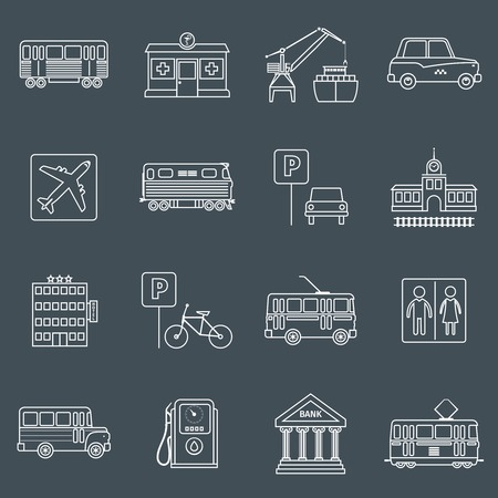 network port: City infrastructure icons outline set with hotel bike trolley toilet isolated vector illustration