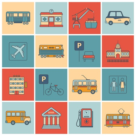 subway road: City infrastructure icons flat line set with bus oil bank tram isolated vector illustration