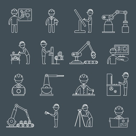 Engineering equipment construction workers technician in workshop outline icons set isolated vector illustration Vettoriali