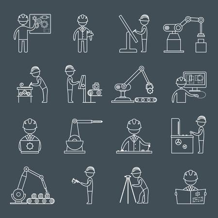 Technische apparatuur bouwvakkers monteur in de werkplaats schets pictogrammen instellen geïsoleerde vector illustratie