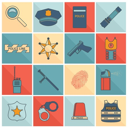 Police crime and justice flat line icons set with magnifier hat shield flashlight isolated vector illustration Vector