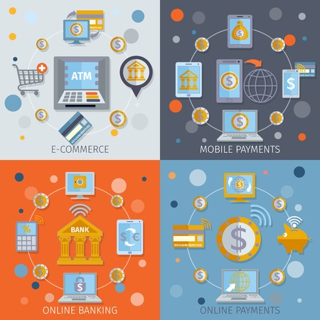 online business: Mobile banking flat line icons set with e-commerce online payments elements isolated vector illustration