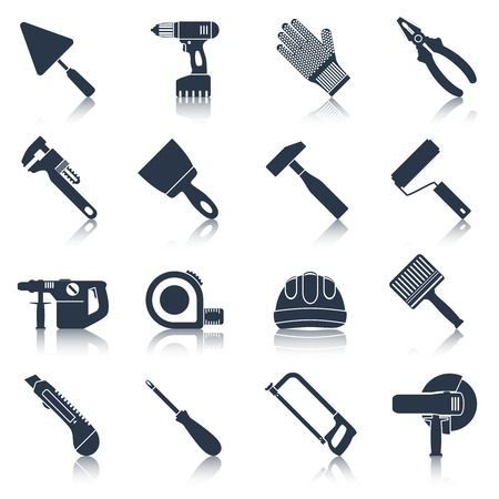 pliers: Repair and construction tools black icons set with pliers spanner drill isolated vector illustration