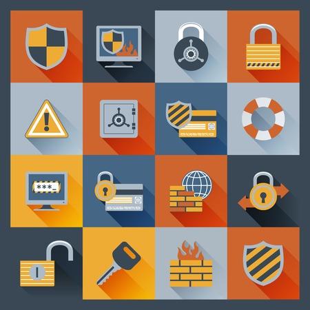 virus informatico: De datos de red del ordenador Iconos de la seguridad segura planas conjunto con elementos de monitor de servidor de seguridad de candado aislado ilustración vectorial Vectores