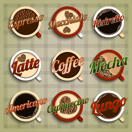 Coffee menu labels set with espresso macchiato ristretto latte mocha americano cappuccino lungo isolated vector illustration Illustration