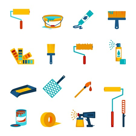 Painting icons flat set with roller bucket brush swatch isolated vector illustration