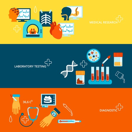 stool test: Medical tests banner flat set with laboratory research and diagnostics isolated vector illustration Illustration