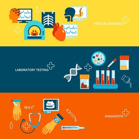 urinalysis: Test Medical bandiera piatto insieme con la ricerca e la diagnostica di laboratorio isolato illustrazione vettoriale Vettoriali