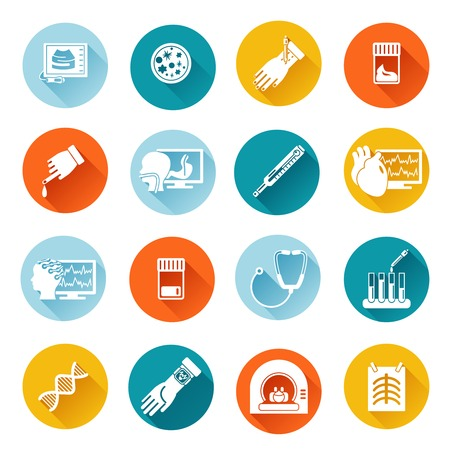 Medische tests gezondheidszorg vlakke pictogrammen set met geïsoleerde diagnostiek onderzoek vector illustratie