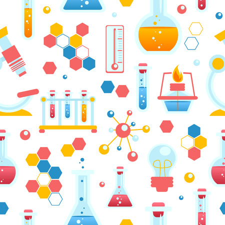 chemical reactions: Chemistry seamless pattern with chemical lab scientific experiment equipment vector illustration
