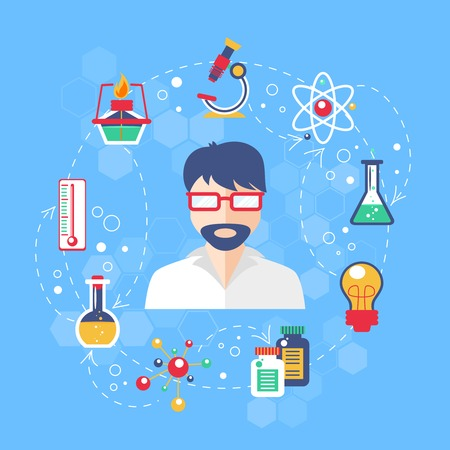 research paper: Chemistry concept with laboratory glass elements and scientist in the middle vector illustration