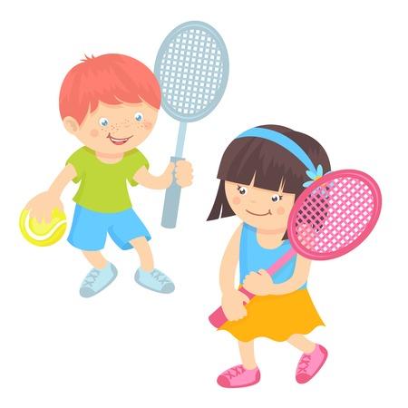 Jongen en meisje kinderen met sportartikelen spelen tennis op een witte achtergrond vector illustratie Stock Illustratie