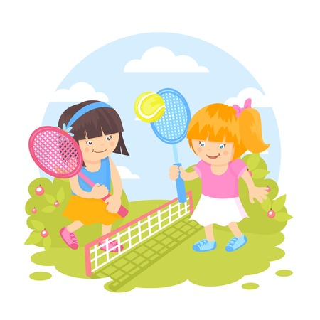 Girl kids with sport racquets playing tennis outdoors background vector illustration