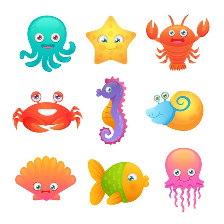 animal fauna: Cute sea life creatures cartoon animals set with fish octopus jellyfish isolated vector illustration