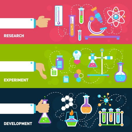 researching: Chemistry decorative horizontal banners set with research experiment development isolated vector illustration Illustration