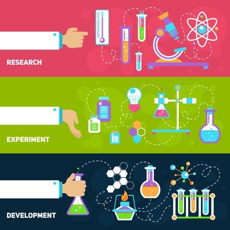 Química banners decorativos horizontales establecen con aislados desarrollo experimento de investigación ilustración vectorial