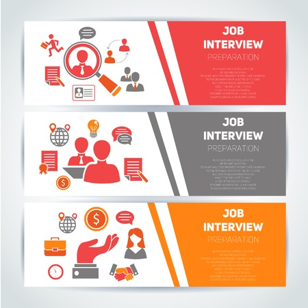 Job interview preparation flat banner horizontal set with search recruitment worker isolated vector illustration