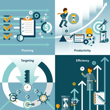 Time management flat icons with planning productivity targeting efficiency isolated vector illustration