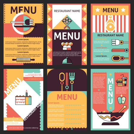 Abstract modern restaurant menu list designs set with decorative cuisine elements isolated vector illustration Illustration